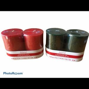 Candles by Ashland, red and green pillar candles
